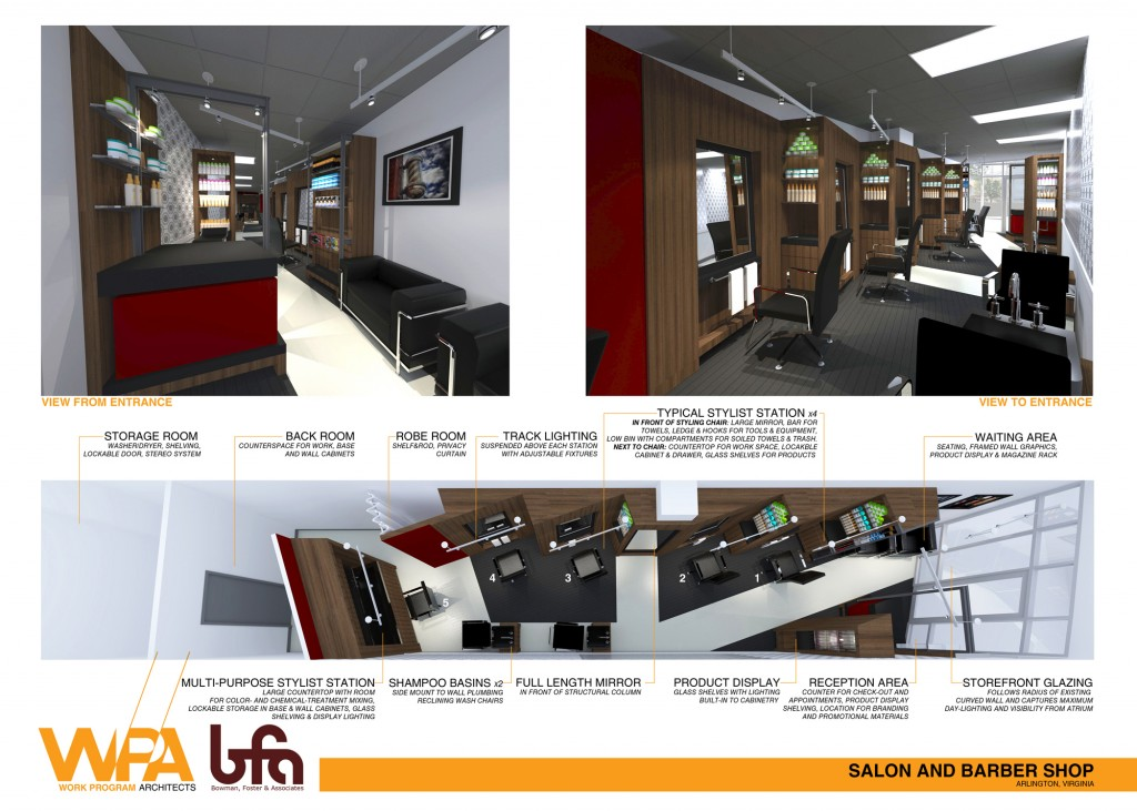 Renderings of Salon and Barbershop